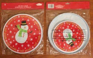Christmas House Set of 4 Burner Covers ~ Snowman with Holly Jolly Border   Cooktop Accessories