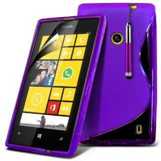 (Purple) Nokia Lumia 520 / 525 Protective S Line Hydro Wave Design Gel Case Cover Skin, Retractable Capacative Touch Screen Stylus Pen & 6 Pack LCD Screen Protector Guard By *Aventus* Electronics