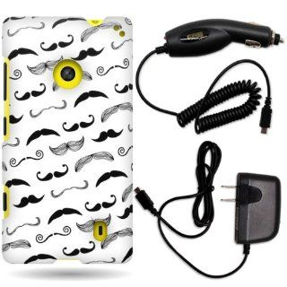 CoverON� Nokia Lumia 521 Hard Plastic Slim Case Bundle with Black Micro USB Home Charger & Car Charger   Black Mustache Cell Phones & Accessories