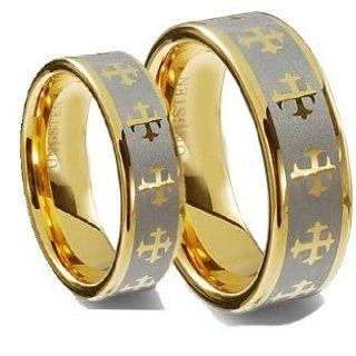 Men & Women 8MM/6MM Flat Gold Plated with Celtic Crosses Tungsten Carbide Wedding Band Ring Set (Available Sizes 5 14 Including Half Sizes) Please e mail sizes Jewelry