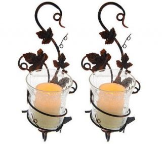 S/2 Home Reflections Glass Sconces with Flameless Candle & Timer —