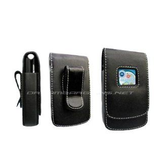 Premium Motorola V3/ V3c/ V3i/ V3m/ V3t/ V3v Razr Razor Black Leather Case/ Pouch/ Cover   Magnetic Flap with Swivel Belt Clip