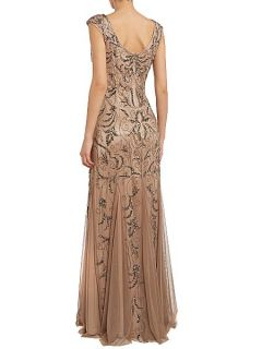 Adrianna Papell Cap sleeve beaded dress Buff