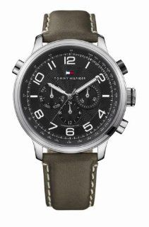 Tommy Hilfiger Men's Tyler Chronograph Watch 1790792 with Green Leather Strap and Black Dial Watches