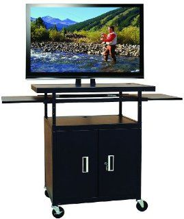 Buhl PLCAB5434E Flat Screen Monitor Cart with Cabinet and 34in to 54in Height Adjustment Electronics