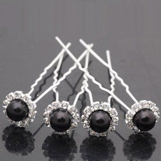 10pcs Wedding Bridal Faux Pearl Hair Pins Crystal Rhinestone Hair Pin Clips By Catalina (Black)  Beauty