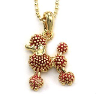 Poodle Dog Pendant Necklace Animal Pet Lover Children Kids Charm Jewelry