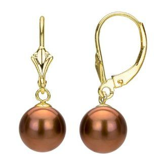 14k Yellow Gold with 9 10mm Roound Grey Cultured Freshwater Pearl High Luster Design Leverback Earring. Jewelry
