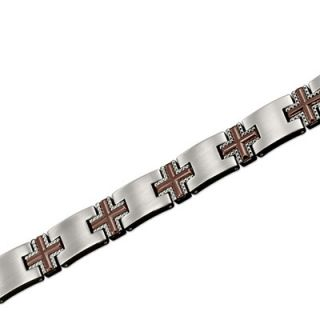 Triton Mens Stainless Steel and Brown Titanium Cross Bracelet   Zales