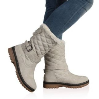 My1stWish Womens DD15 Quilted Ladies Faux Fur Grip Sole Winter Snow Boots Shoes Size 5 Light Grey Shoes