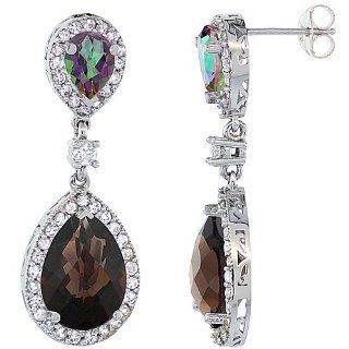 10K White Gold Natural Smoky Topaz and Mystic Topaz Tear Drop Earrings White Sapphire and Diamond Accents, 1 3/8 inches long Dangle Earrings Jewelry