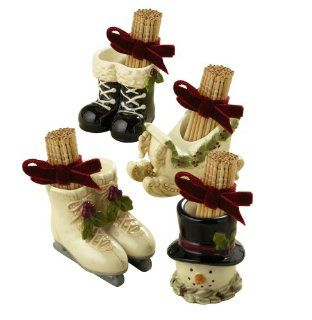 Grasslands Road Deck the Halls Sleigh/Ice Skate/Snowman/Black Boot Toothpick Holders with Ribbon Party Favors, Set of 24 Kitchen & Dining