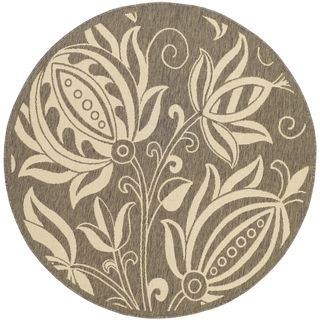 Safavieh Indoor/ Outdoor Courtyard Brown/ Natural Floral Rug (710 Round)