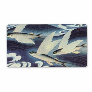 Vintage Wild Aquatic Animals, Flying Fish in Ocean Personalized Shipping Label