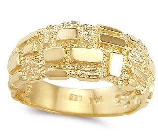 Men's Nugget Ring 14k Yellow Gold Pinky Fashion Band Wedding Bands Jewelry