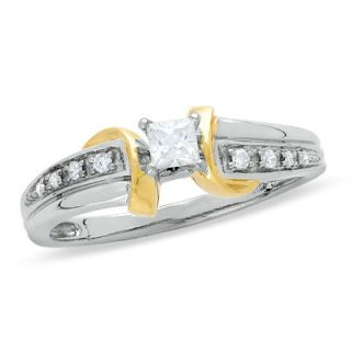 CT. T.W. Princess Cut Diamond Promise Ring in 10K Two Tone Gold