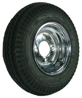 "4 hole 8"" x 3.75"" Chrome Trailer Wheel & Tire (590 lb. capacity) Automotive"
