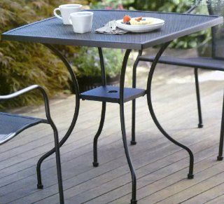 Commercial Home Wrought Iron Square 28'' Bistro Table with Center Hole for Umbrella Pole  Patio, Lawn & Garden
