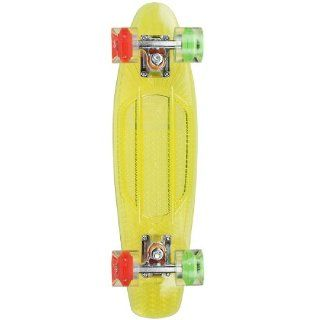 "Sunset ""Rasta"" Complete Skateboard / Yellow Deck & Green/Red LED Wheels  Standard Skateboards  Sports & Outdoors"