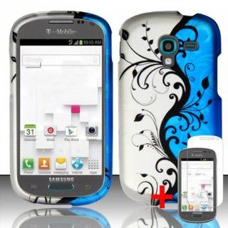 SAMSUNG GALAXY EXHIBIT T599 BLUE SILVER FLOWER VINE RUBBERIZED COVER HARD CASE + FREE SCREEN PROTECTOR from [ACCESSORY ARENA] Cell Phones & Accessories
