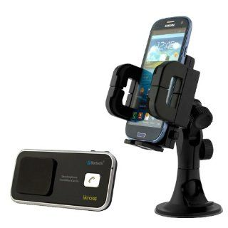 iKross 3in1 Car Vehicle Windshield / Dashboard / Air Vent Mount Holder + iKross Solar/USB Powered Wireless Bluetooth Speaker Phone Handsfree Car kit for HTC Desire 610, One (M8), Desire / Desire 601,One Max, One Mini and more Cell Phones & Accessories