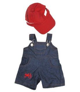 """Farmer"" Outfit with Cap Outfit Teddy Bear Clothes Fits Most 14""   18"" Build A Bear, Vermont Teddy Bears, and Make Your Own Stuffed Animals Toys & Games"