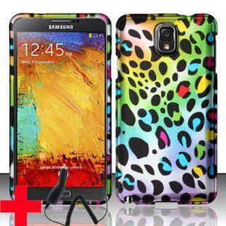 SAMSUNG GALAXY NOTE 3 N9000 MULTI COLOR RAINBOW LEOPARD DESIGN HARD PLASTIC SNAP ON CELL PHONE CASE SHELL + FREE CAR CHARGER, FROM (TRIPLE8ACCESSORIES) Cell Phones & Accessories