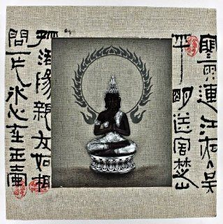 Canvas Buddha Wall Hanging Art White Frame 3D Shadow Box Shadowbox D67209   Wall Sculptures