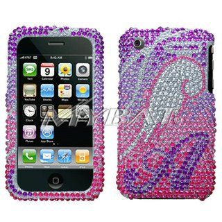 Sparkling Purple with Pink Silver Angel Wing Premium Luxury Rhinestones Full Diamond Bling Apple Iphone 3g 3gs Snap on Cell Phone Cas Cell Phones & Accessories