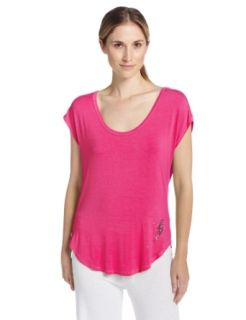 Betsey Johnson Women's Rayon Knit Tee, Think Pink, Medium Pajama Tops