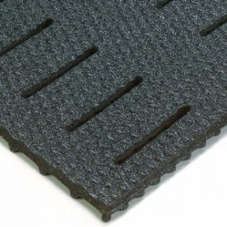 Wearwell PVC 480 KushionWalk Heavy Duty Abrasive Coated Anti Fatigue Mat, Slotted, for Wet Areas, Black Floor Matting