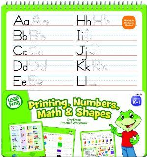 LeapFrog Printing, Numbers, Math and Shapes Dry Erase Practice Workbook for Grades K 1 with Washable Dry Erase Marker (19438)  Dry Erase Boards