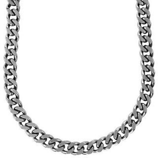 Mens 12.0mm Stainless Steel Curb Chain Necklace   22   Zales