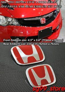 Brand New JDM Red Honda H Front and Rear Emblem for 06 11 Honda Civic 4door Only and All Year Honda Fit (The Pin Might Need to Cut to Stick on Some of the Vehicle) Automotive