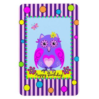 Cute Owl Happy Birthday text Photo Magnet