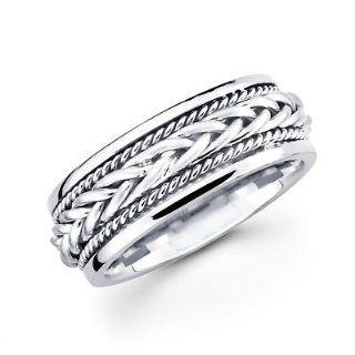 Solid 14k White Gold Ladies Mens Braided Rope Design Wedding Ring Band 7MM Size 9.5 Jewelry