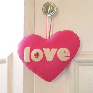 pink felt love heart by ilovehearts