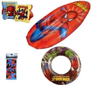 "Spiderman Pool Toys for Kids (4 Pieces)   Spiderman Swim Ring (20""), Spiderman Floaties (7""), Spiderman Raft Float (28""), and Spiderman Stickers Set (Four 3""x6"" Sheets) Toys & Games"