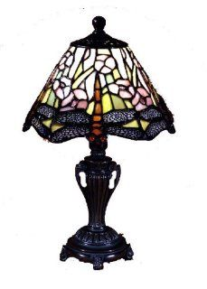 Dale Tiffany 8033/640 Dragonfly Accent Lamp, Antique Bronze and Art Glass Shade   Table Lamps