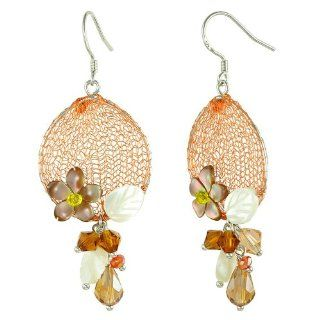 Pearl Shell & Crystal Flower Bouquet Accent Orange Silver Mesh Oval Dangle Earrings Jewelry