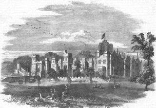 LINCS Bayons Manor(Charles Tennyson D'Eyncourt), antique print, 1859