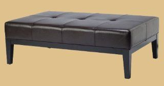 Safavieh Hudson Collection Bleecker Black Leather Cocktail Bench   Ottomans
