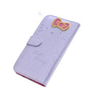JBG Light Purple Samsung S4 i9500 Beuatiful Shell Skin Case 3D Cute Hello Kitty & Bow knot Style Flip Wallet Leather Cover for Samsung Galaxy S4 IV i9500 Cell Phones & Accessories