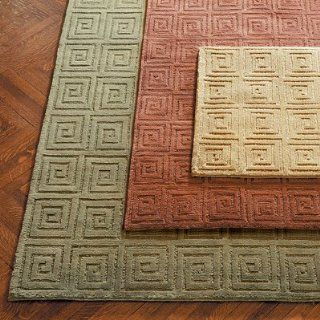 "Tibetan Greek Key Wool Area Rug   Green, 2'6"" x 12'   Frontgate"