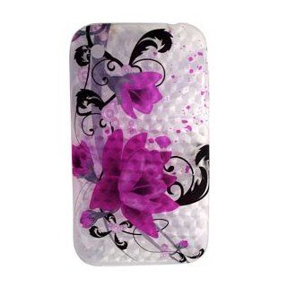 Purple Flower Art Diamond Design Soft Crystal TPU Candy Skin Gel Cover Case for Apple Iphone 3g 3gs Cell Phones & Accessories