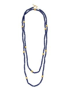 Navy Blue & Gold Bead Strand Necklace by KEP