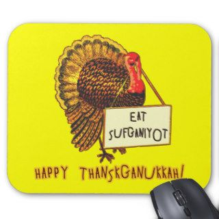 Eat Sufganiyot Funny Thanksgiving Hanukkah Tee Mousepad