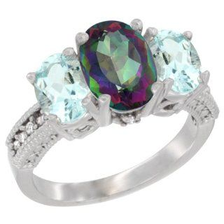 14K White Gold Natural Mystic Topaz Ring Ladies 3 Stone 8x6 Oval with Aquamarine Sides Diamond Accent, sizes 5   10 Jewelry