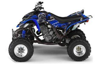 AMR Racing Yamaha Raptor 660 ATV Quad Graphic Kit   Toxicity Black, Blue Automotive