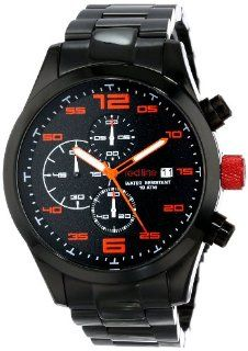 red line Men's RL 50042 BB 11OR Stealth Chronograph Black Textured Dial Black Ion Plated Stainless Steel Watch Watches